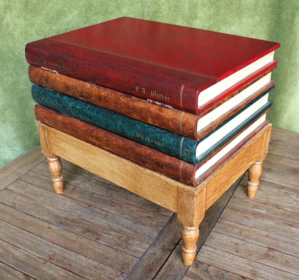 Three Examples Of Wooden Boxes Imitating Books, Two Of Them Have Imitation  Leather On The Covers, These Two Are; A Side Table Made Of Compact Chip  Board And ...